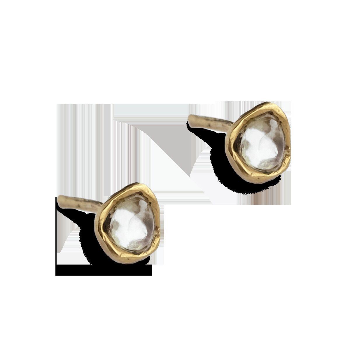 Серьги-пусеты с лунным камнем или аметистом