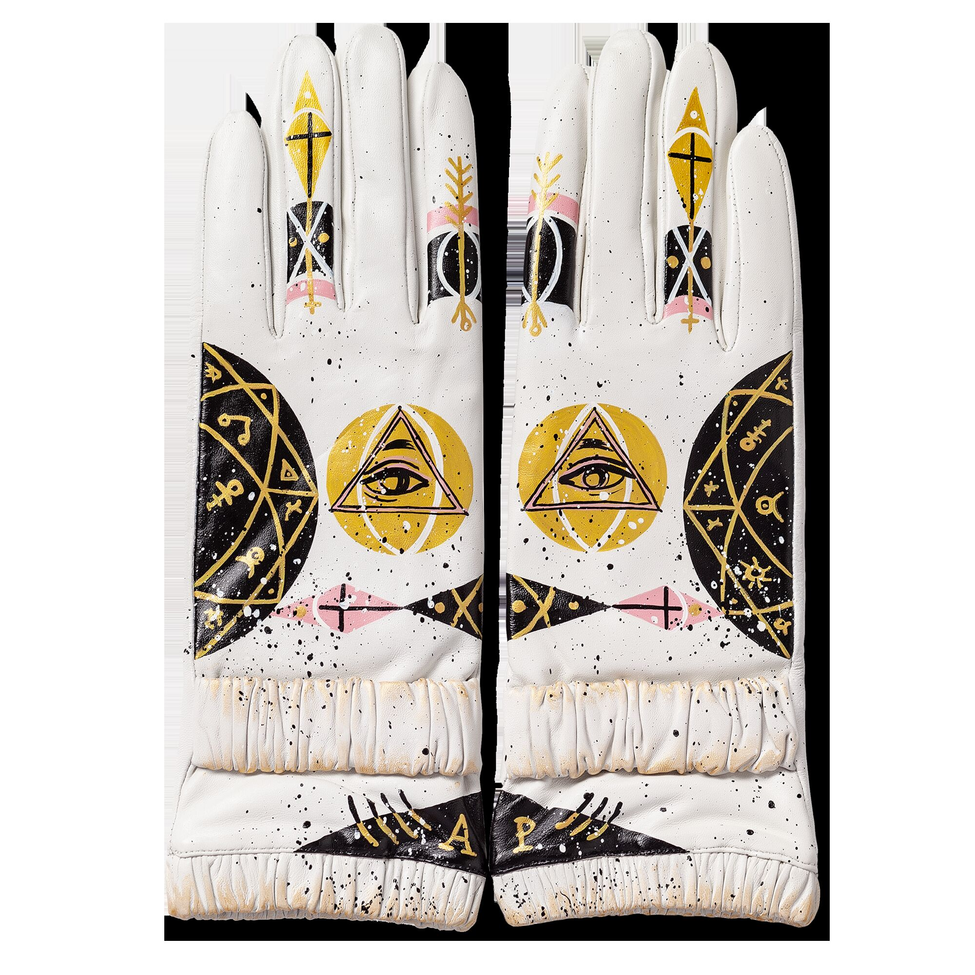 Перчатки белые с ручной росписью