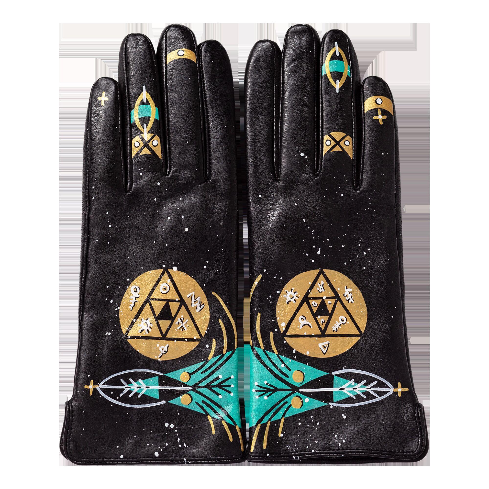 Перчатки черные с ручной росписью